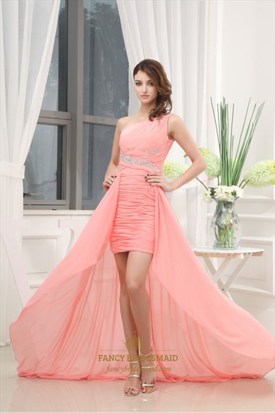One Shoulder Applique Ruching Chiffon Prom Dress, High Low Prom Dress