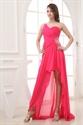One Shoulder Hot Pink Prom Dress, One Shoulder High Low Formal Dress