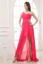 One Shoulder Hot Pink Prom Dress, One Shoulder High Low Formal Dress