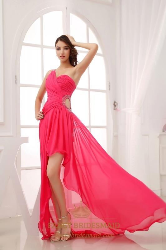 One Shoulder Hot Pink Prom Dress, One Shoulder High Low Formal Dress ...
