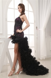 Black Spaghetti Strap Prom Dress, Black Embellished High Low Dress