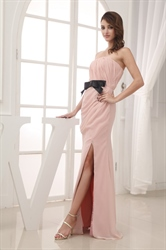 Dusty Pink Chiffon Bridesmaid Dress,Long Strapless Chiffon Formal Gown
