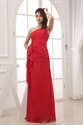 One Shoulder Chiffon Gown With Floral Appliques,Red Chiffon Prom Dress