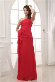Red Empire Waist Prom Dress, Long Chiffon Mother Of The Bride Dresses