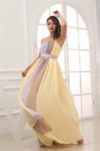 Strapless Chiffon Bridesmaid Dress, Two Tone Chiffon Bridesmaid Dress