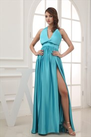 Classic Blue Long Halter Evening Gown, Low Cut V-Neck Prom Dresses