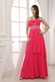 Chiffon A-Line Floor-Length Evening Dress, Keyhole Halter Prom Dress