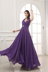 Long Chiffon Halter Bridesmaid Dresses, Long Purple Chiffon Prom Dress