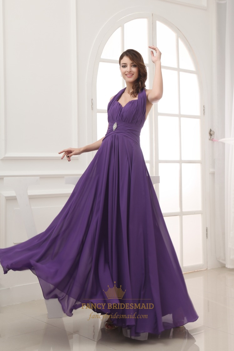 Long Chiffon Halter Bridesmaid Dresses, Long Purple Chiffon Prom ...
