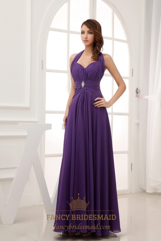 Long Chiffon Halter Bridesmaid Dresses Purple Prom Dress