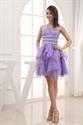 One Shoulder Short Homecoming Dress, Lilac Pleated One Shoulder Dress