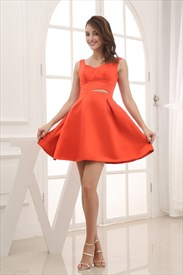 Orange Red Cocktail Dresses, Short Satin Party Dresses, Holiday Gowns