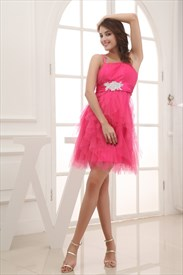 Hot Pink Short Bridesmaid Dress, Short Spaghetti Strap Cocktail Dress