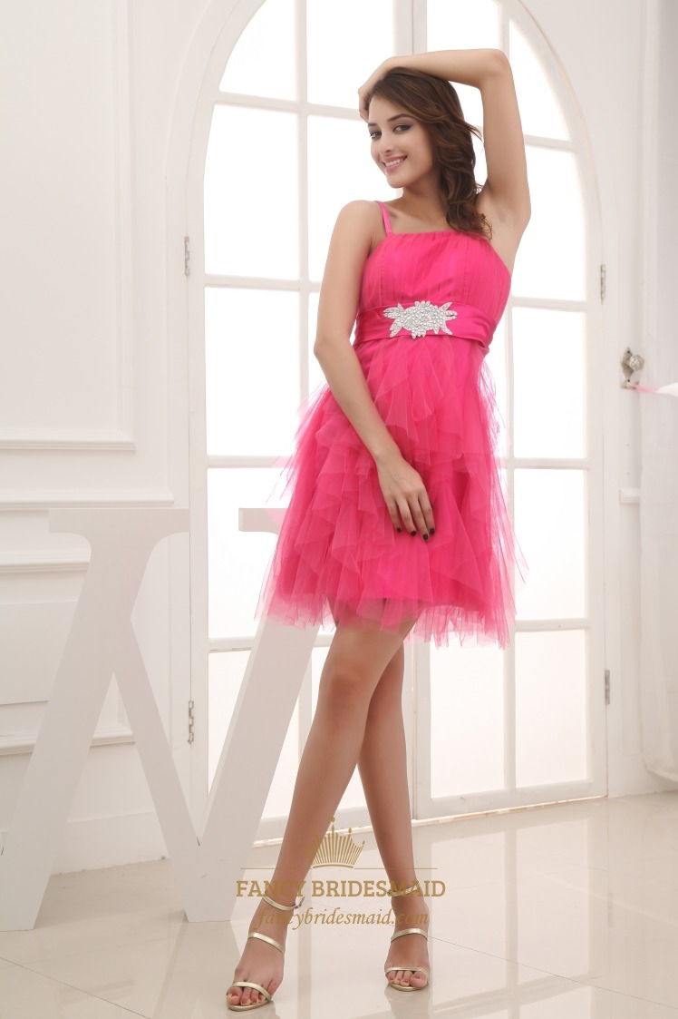 Hot Pink Short Bridesmaid Dress Spaghetti Strap Tail