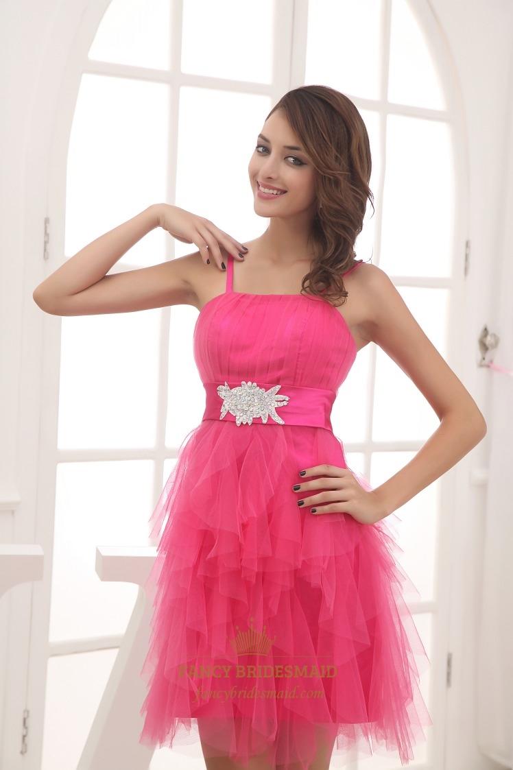Hot pink short bridesmaid dress short spaghetti strap cocktail hot pink short bridesmaid dress short spaghetti strap cocktail dress ombrellifo Choice Image