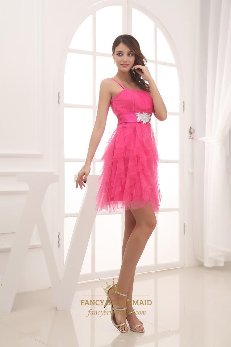 Hot Pink Short Bridesmaid Dress, Short Spaghetti Strap Cocktail ...
