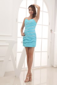 Short Sky Blue Prom Dress,Strapless Sky Blue Prom Dress