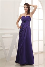 Purple Sweetheart Neckline Prom Dress,Long Dark Purple Bridesmaid Dress UK 2019