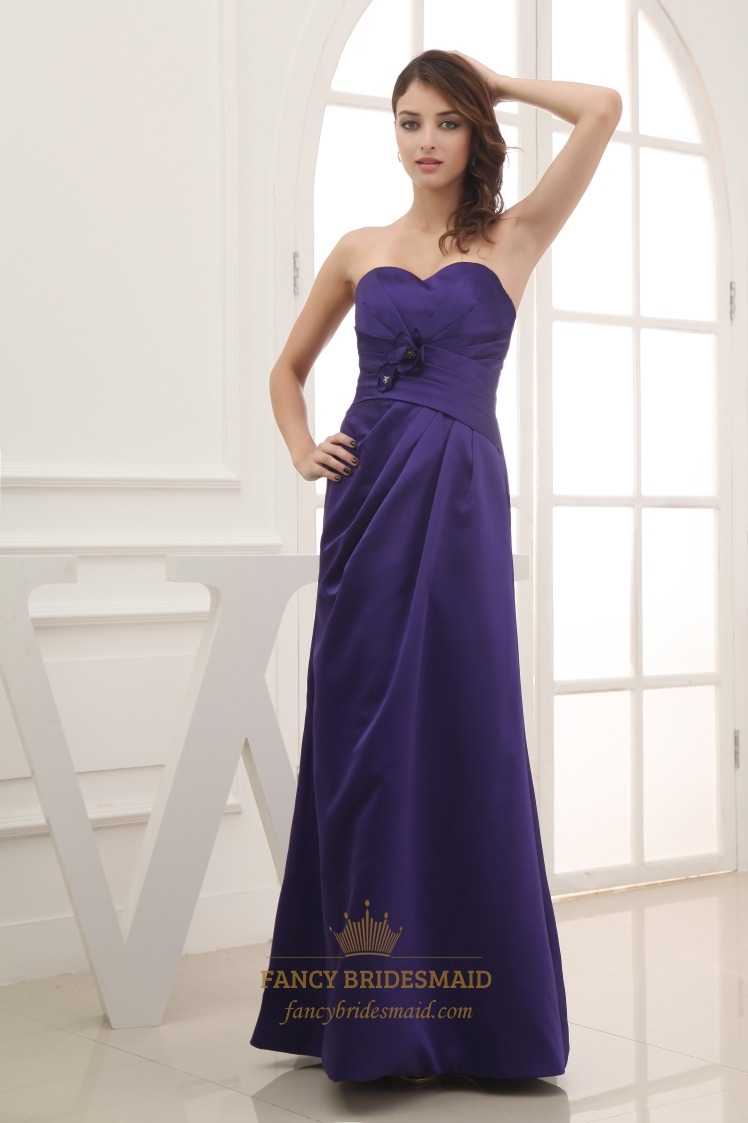 Purple Sweetheart Neckline Prom Dress,Long Dark Purple Bridesmaid ...