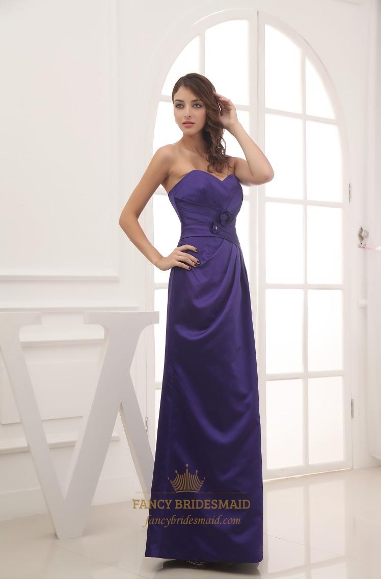 Purple Sweetheart Neckline Prom Dress,Long Dark Purple Bridesmaid ...