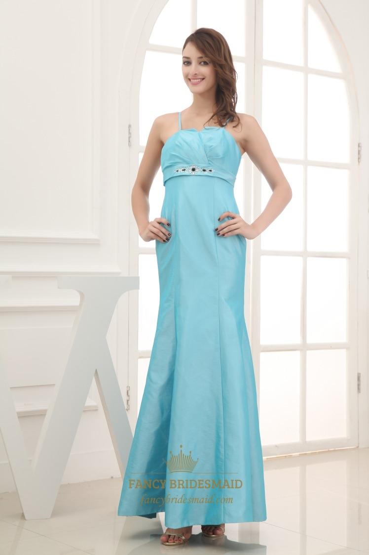 Aqua Blue Mermaid Prom Dress Floor Length Empire Waist