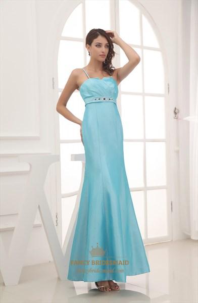 Aqua Blue Mermaid Prom Dress, Floor Length Empire Waist Prom Dresses