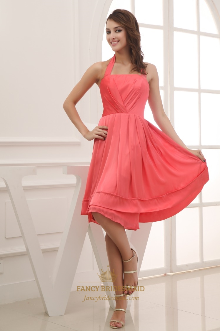 watermelon short halter chiffon with pleating