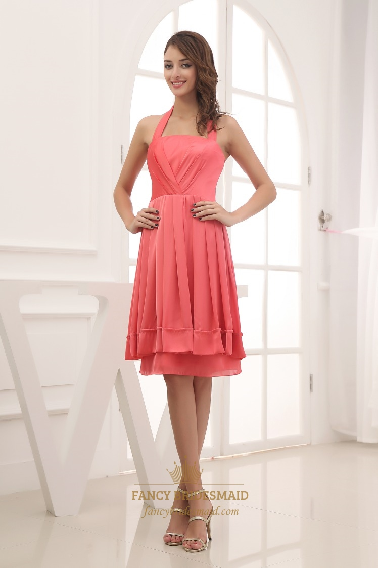 Knee length military ball dress a line halter chiffon for Aline halter wedding dresses