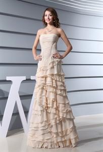 Champagne Chiffon Prom Dress, A-Line Strapless Floor Length Prom Dress