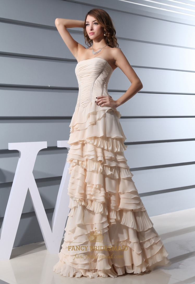 Champagne Chiffon Prom Dress A Line Strapless Floor