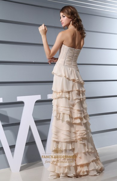 Champagne Chiffon Prom Dress, A-Line Strapless Floor Length Prom Dress