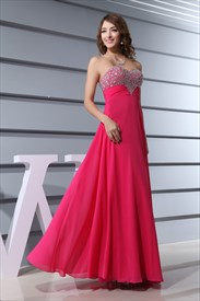 2858e6fef97e Hot Pink Strapless Beaded Waist Floor Length Cascade Mermaid Prom ...