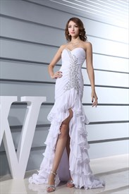 Long Evening Dress Side Split, Chiffon Strapless Sweetheart Prom Dress