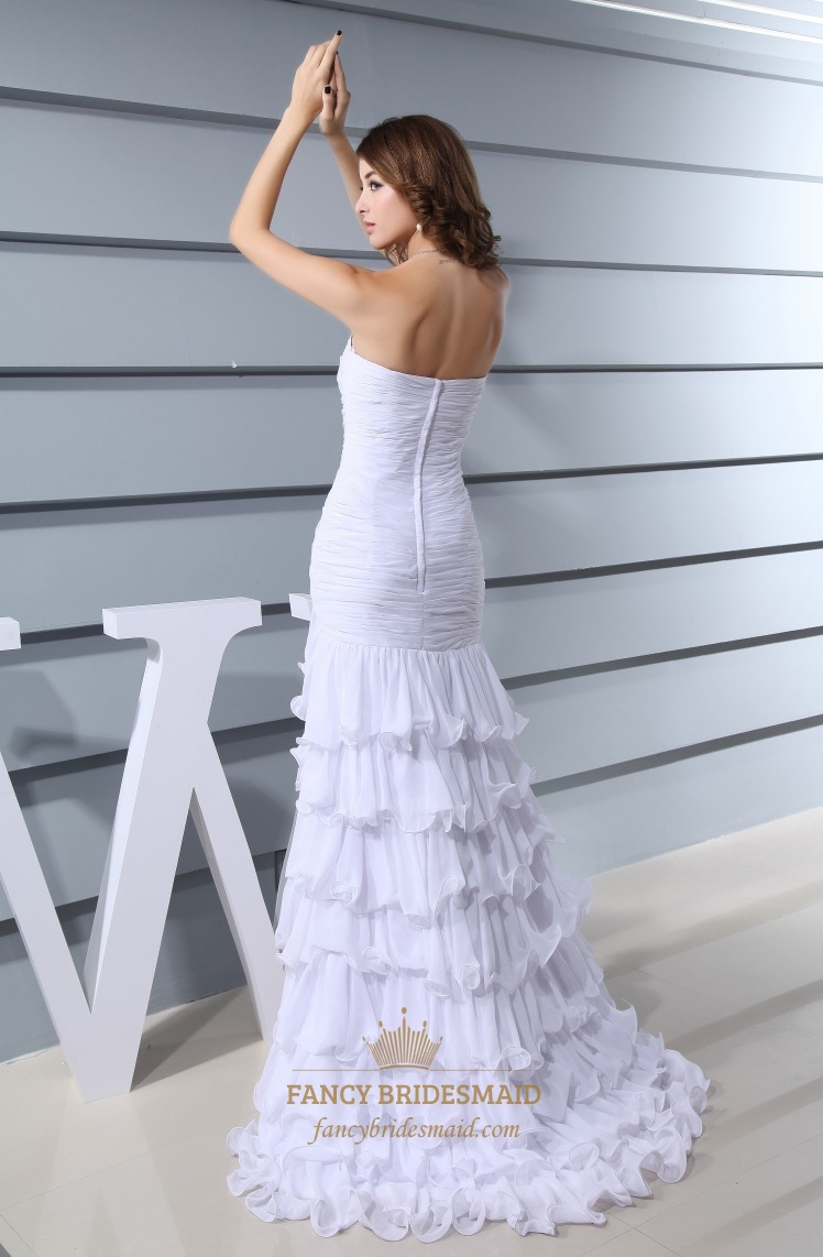 Long Evening Dress Side Split, Chiffon Strapless Sweetheart Prom ...