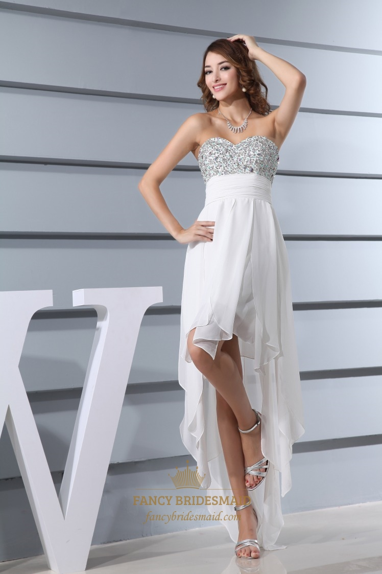 Embellished Sweetheart High Low Ruffle Dress, Ivory Chiffon Prom ...