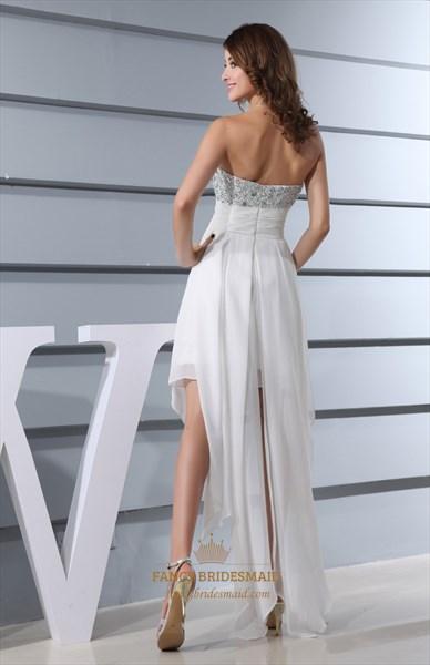 Embellished Sweetheart High Low Ruffle Dress, Ivory Chiffon Prom Dress