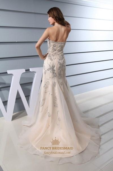 Strapless Beaded Long Mermaid Prom Dress, Champagne Mermaid Prom Dress