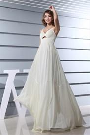 Ivory Empire Waist Chiffon Wedding Dress, A Line V Neck Chiffon Dress
