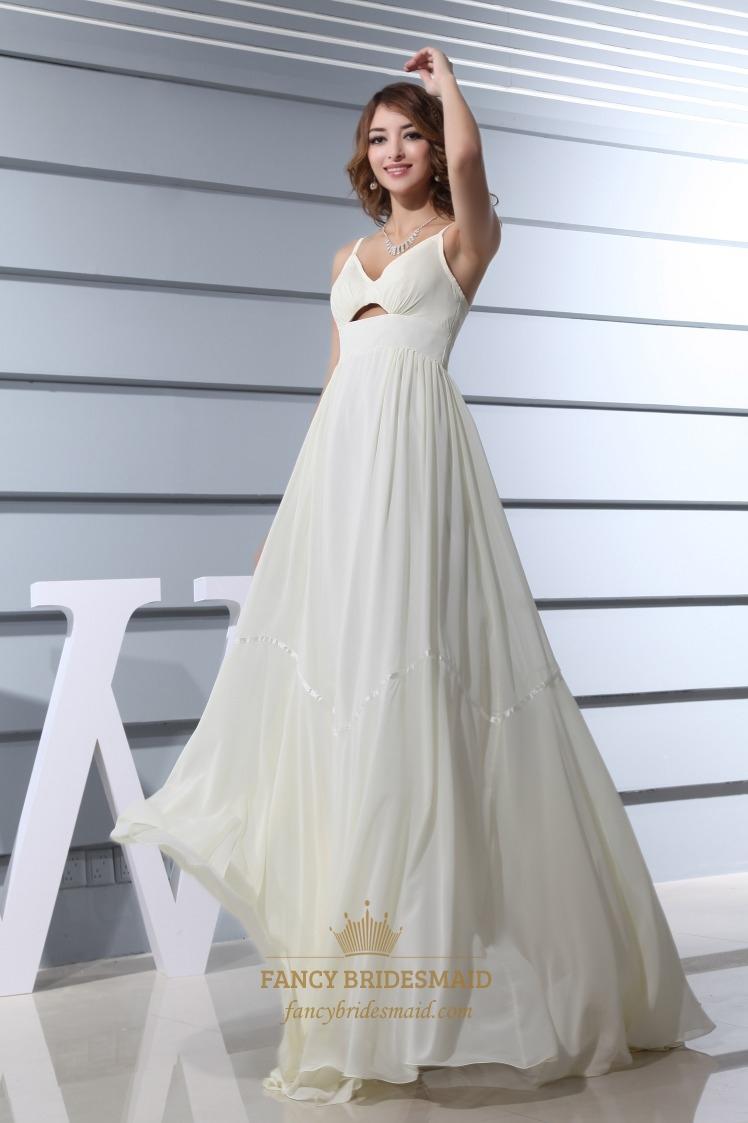 Ivory empire waist chiffon wedding dress a line v neck for V neck a line wedding dresses
