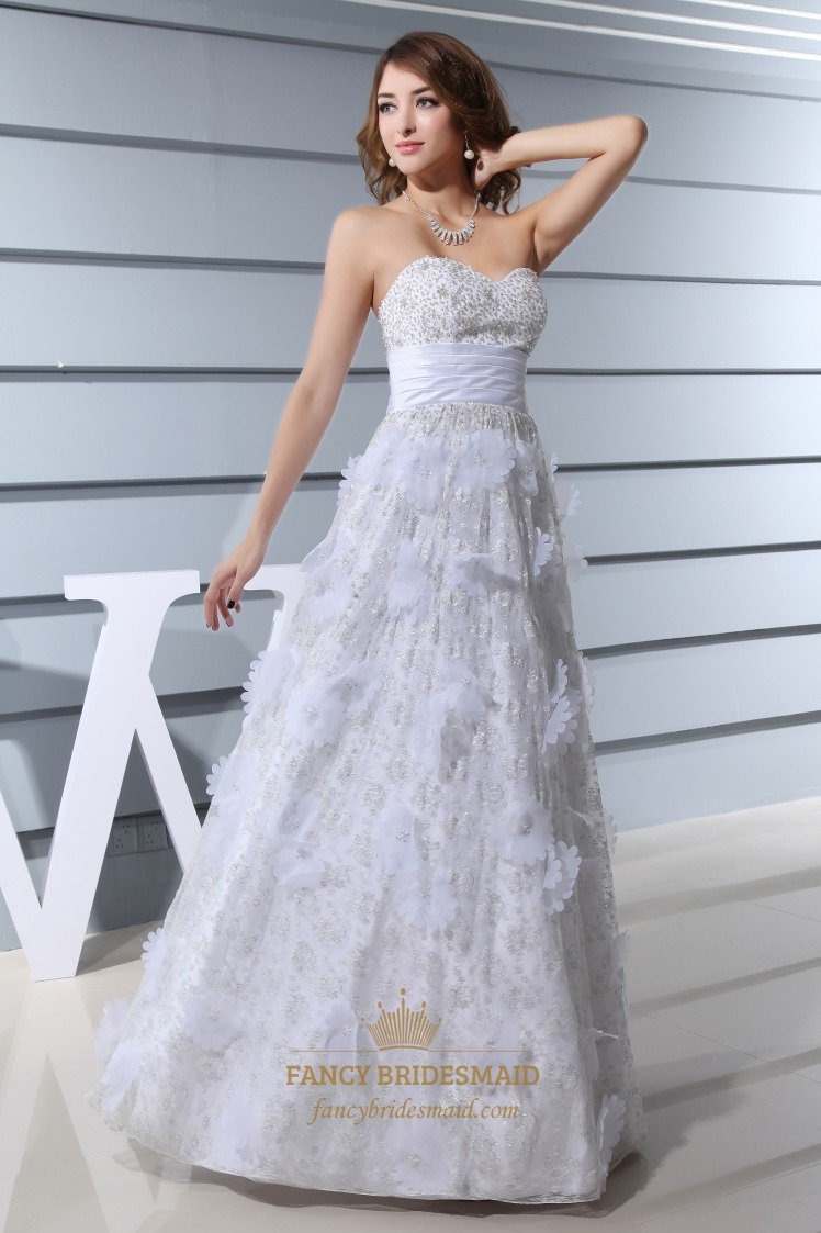 Strapless Lace Dress With Floral Embellishment, Long White Prom ...