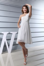 One Shoulder Empire Waist Cocktail Dress, Ivory Chiffon Cocktail Dress