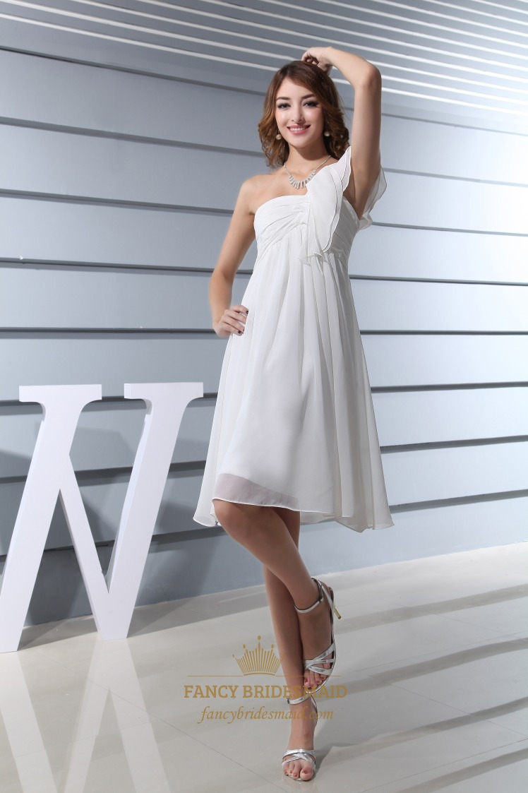 One Shoulder Empire Waist Cocktail Dress, Ivory Chiffon Cocktail ...
