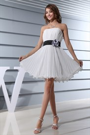 Ivory Dress With Black Belt, Short Strapless Chiffon Bridesmaid Dress