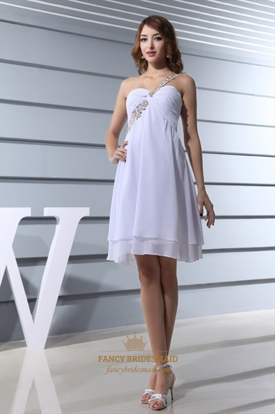 White One Shoulder Short Prom Dress, White Chiffon Empire Waist Dress