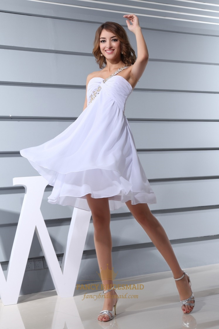 White One Shoulder Short Prom Dress, White Chiffon Empire Waist ...