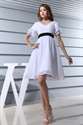 White Cocktail Dress With Black Belt,White Short Sleeve Cocktail Dress