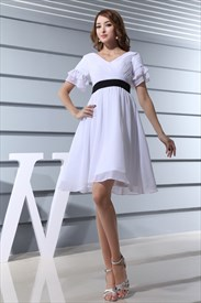 White Cocktail Dress With Black Belt,White Short Sleeve Cocktail Dress