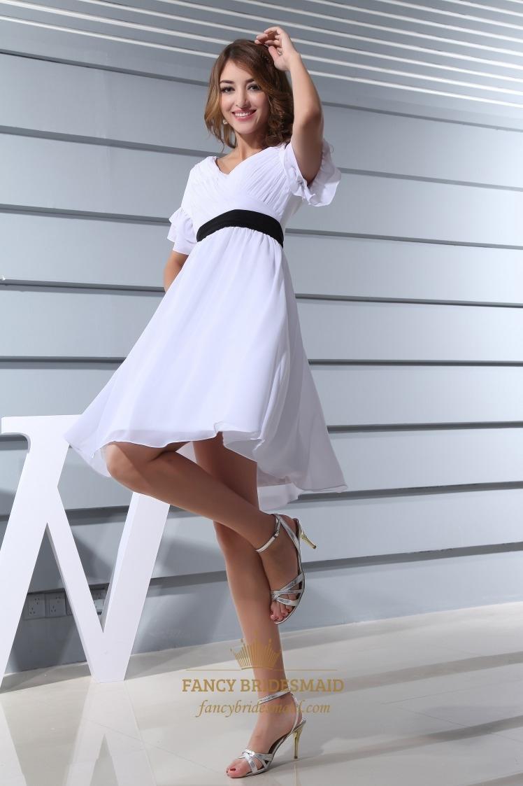 White Cocktail Dress With Black Belt, White Short Sleeve Cocktail ...