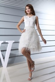 Short Embellished Feather Dress, Short Wedding Dress With Feathers