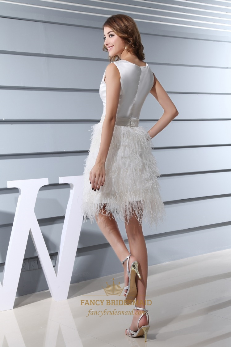 Short Embellished Feather Dress, Short Wedding Dress With Feathers ...